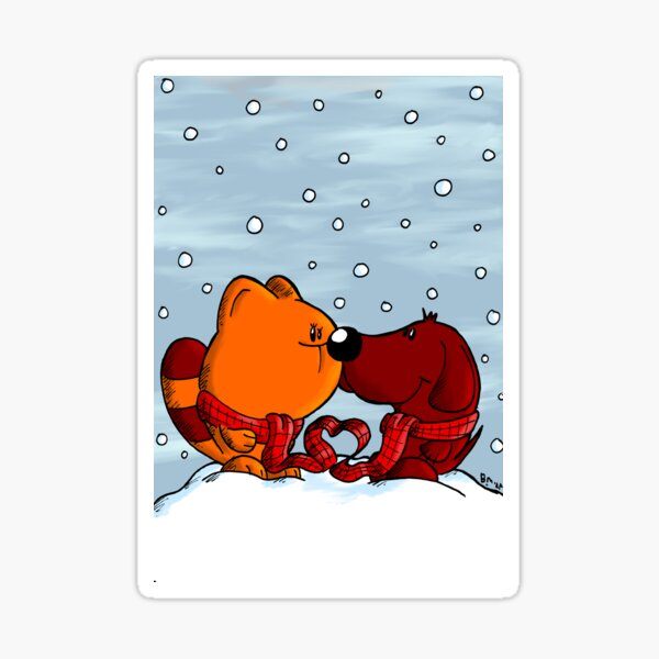 Cat and dog in love in winter Sticker