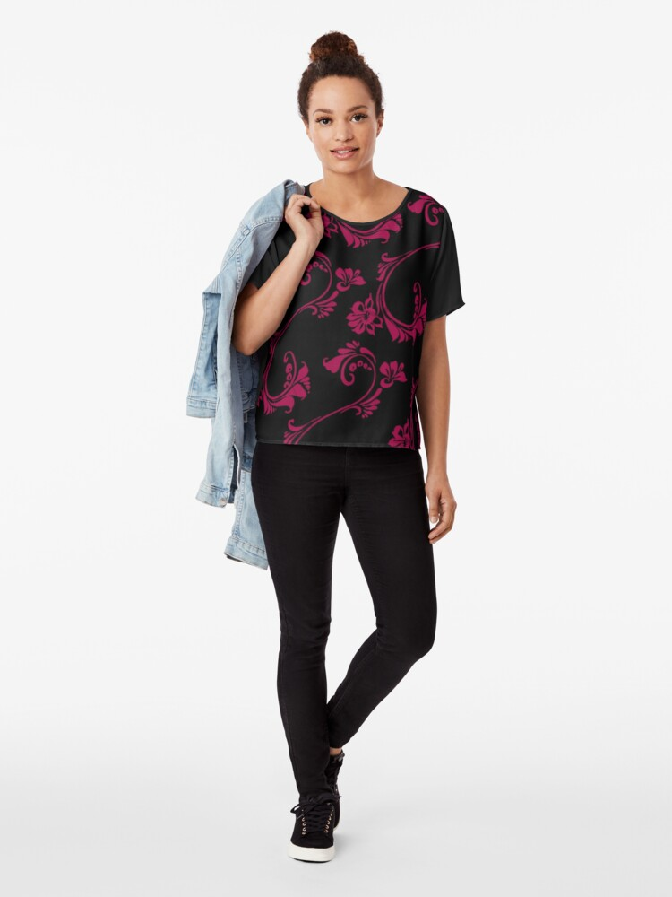 Alternate view of Black with Hot Pink Flower by Julie Everhart Chiffon Top