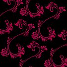 Black with Hot Pink Flower by Julie Everhart by Julie Everhart
