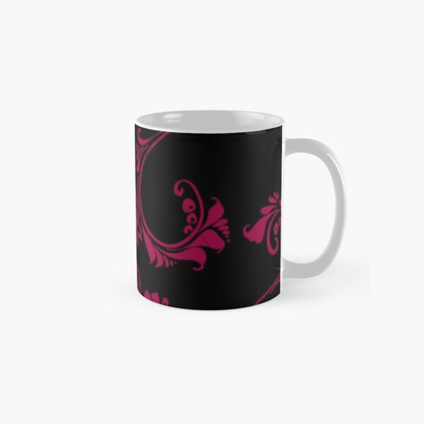 Black with Hot Pink Flower by Julie Everhart Classic Mug
