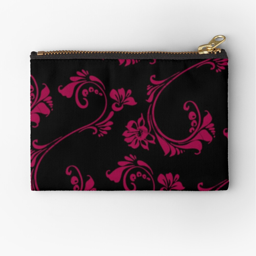 Black with Hot Pink Flower by Julie Everhart Zipper Pouch