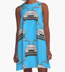 blue Delorean A-Line Dress