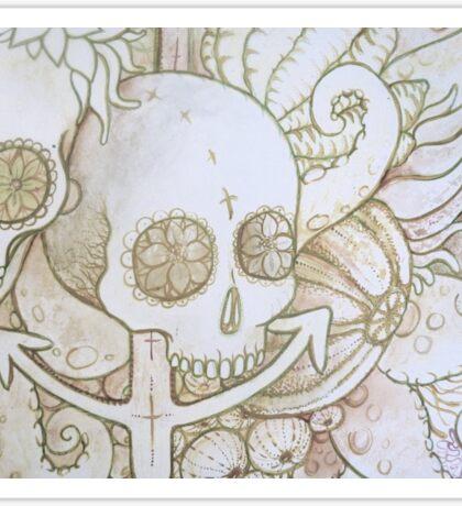 skull in the ocean sketch Sticker