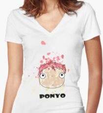 Little Ponyo ink Women's Fitted V-Neck T-Shirt