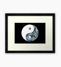 Earth from Space Ying Yang Framed Print