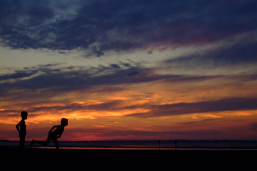 Beach Cricket boys by Laz Moutafis