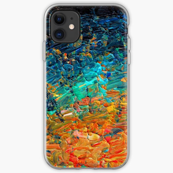 ETERNAL TIDE 2 Bold Rainbow Colorful Deep BlueTurquoise Aqua Orange Yellow Ombre Waves Abstract Acrylic Painting iPhone Soft Case