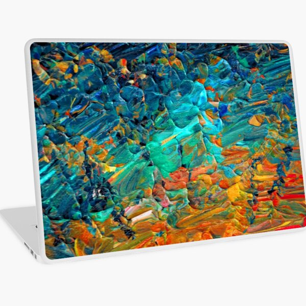 ETERNAL TIDE 2 Bold Rainbow Colorful Deep BlueTurquoise Aqua Orange Yellow Ombre Waves Abstract Acrylic Painting Laptop Skin