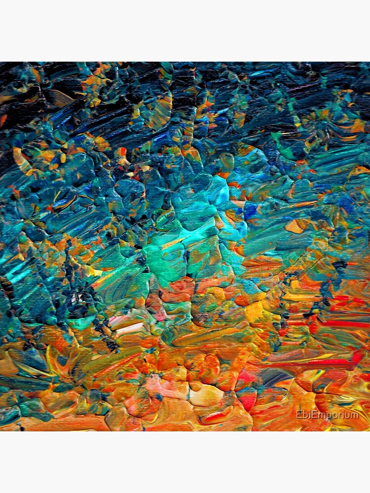 ETERNAL TIDE 2 Bold Rainbow Colorful Deep BlueTurquoise Aqua Orange Yellow Ombre Waves Abstract Acrylic Painting by EbiEmporium