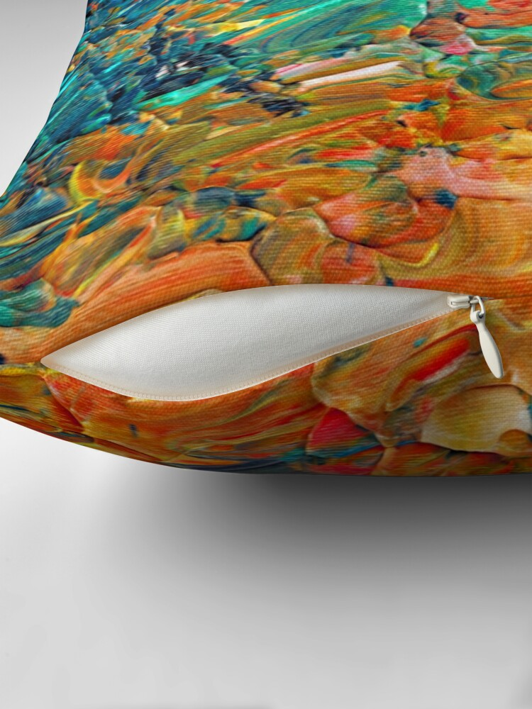Alternate view of ETERNAL TIDE 2 Bold Rainbow Colorful Deep BlueTurquoise Aqua Orange Yellow Ombre Waves Abstract Acrylic Painting Throw Pillow