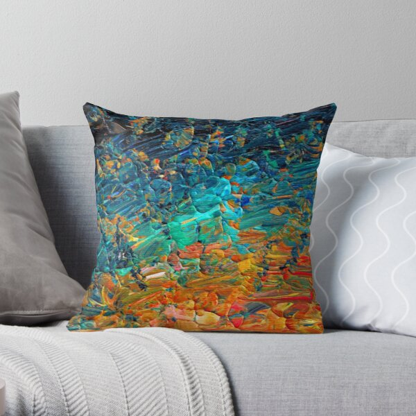 ETERNAL TIDE 2 Bold Rainbow Colorful Deep BlueTurquoise Aqua Orange Yellow Ombre Waves Abstract Acrylic Painting Throw Pillow