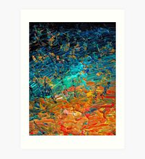 ETERNAL TIDE 2 Bold Rainbow Colorful Deep BlueTurquoise Aqua Orange Yellow Ombre Waves Abstract Acrylic Painting Art Print
