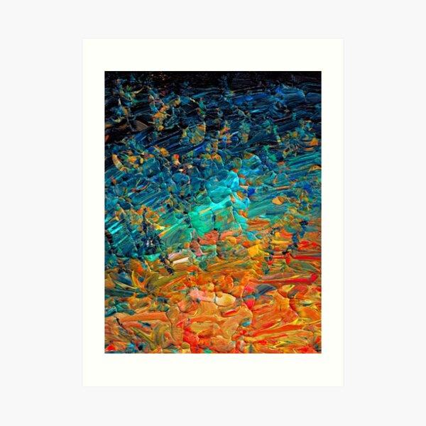 ETERNAL TIDE 2 Bold Rainbow Colorful Deep BlueTurquoise Aqua Orange Yellow Ombre Waves Abstract Acrylic Painting Art Print