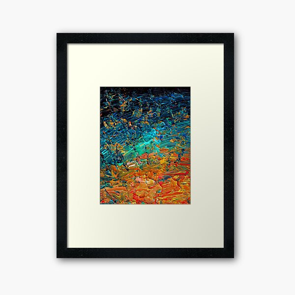 ETERNAL TIDE 2 Bold Rainbow Colorful Deep BlueTurquoise Aqua Orange Yellow Ombre Waves Abstract Acrylic Painting Framed Art Print