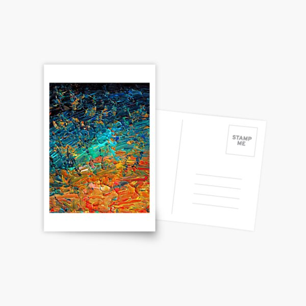 ETERNAL TIDE 2 Bold Rainbow Colorful Deep BlueTurquoise Aqua Orange Yellow Ombre Waves Abstract Acrylic Painting Postcard