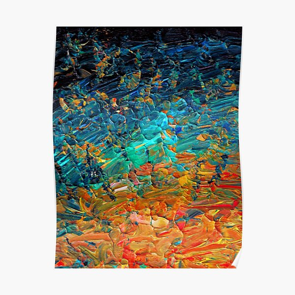 ETERNAL TIDE 2 Bold Rainbow Colorful Deep BlueTurquoise Aqua Orange Yellow Ombre Waves Abstract Acrylic Painting Poster