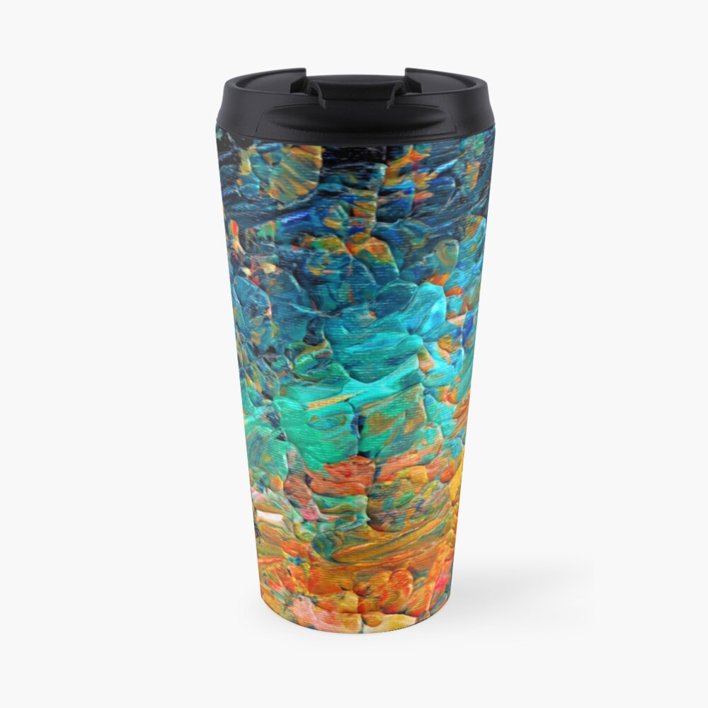 ETERNAL TIDE 2 Bold Rainbow Colorful Deep BlueTurquoise Aqua Orange Yellow Ombre Waves Abstract Acrylic Painting Travel Mug
