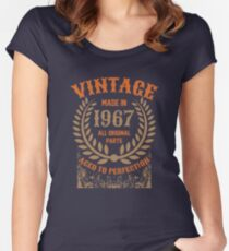 Vintage Made In 1967 Distressed Birthday Gift Women's Fitted Scoop T-Shirt