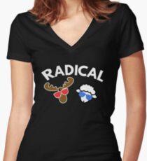 Radical  Moose Lamb T Shirt Women's Fitted V-Neck T-Shirt