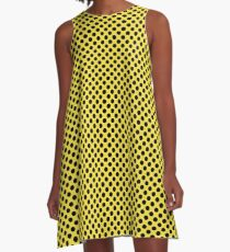 Buttercup and Black Polka Dots A-Line Dress