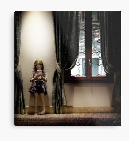 Venice curtains vs hand held video game Metal Print