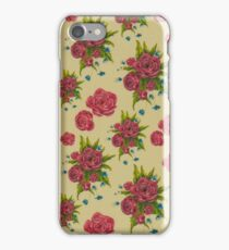photo of fabric pattern with red flowers iPhone Case/Skin
