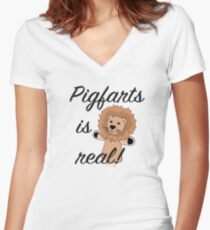 Pigfarts is Real Women's Fitted V-Neck T-Shirt