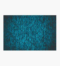 Bright blue-green wool knitted ornament  Photographic Print
