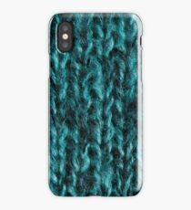 Bright blue-green wool knitted ornament iPhone Case/Skin