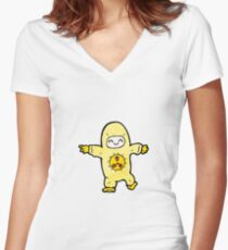 cartoon man in radiation suit Women's Fitted V-Neck T-Shirt