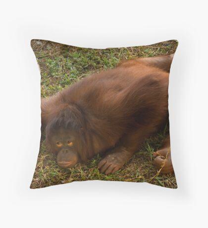 Crouching Ape, Hidden Assets Throw Pillow