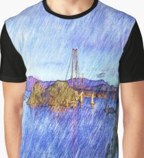 A Bridge Drawing effect Graphic T-Shirt