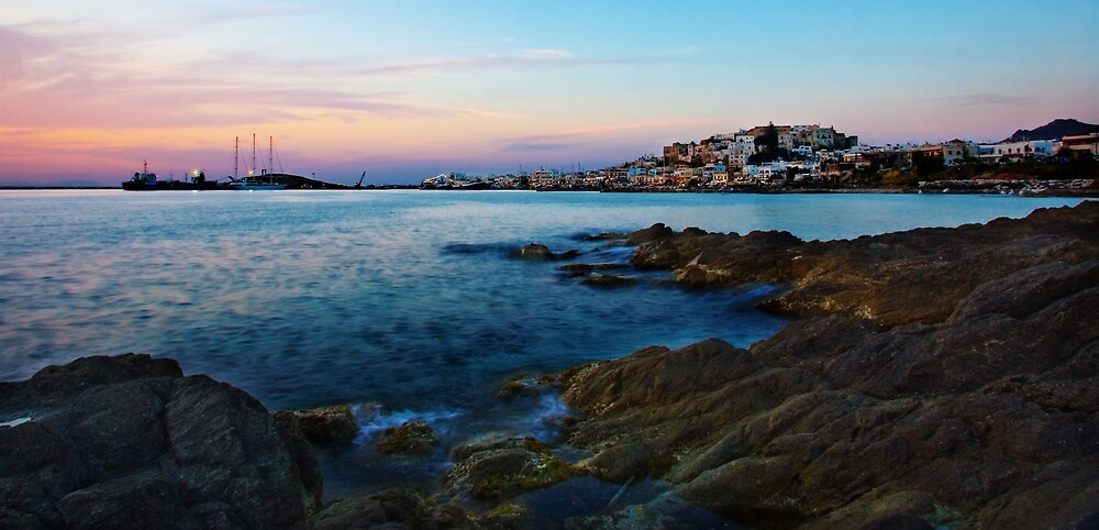 Naxos Harbour at Sunset by RedChevy