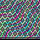 Retro Diamonds and Neon Waves Pattern by Allise Noble