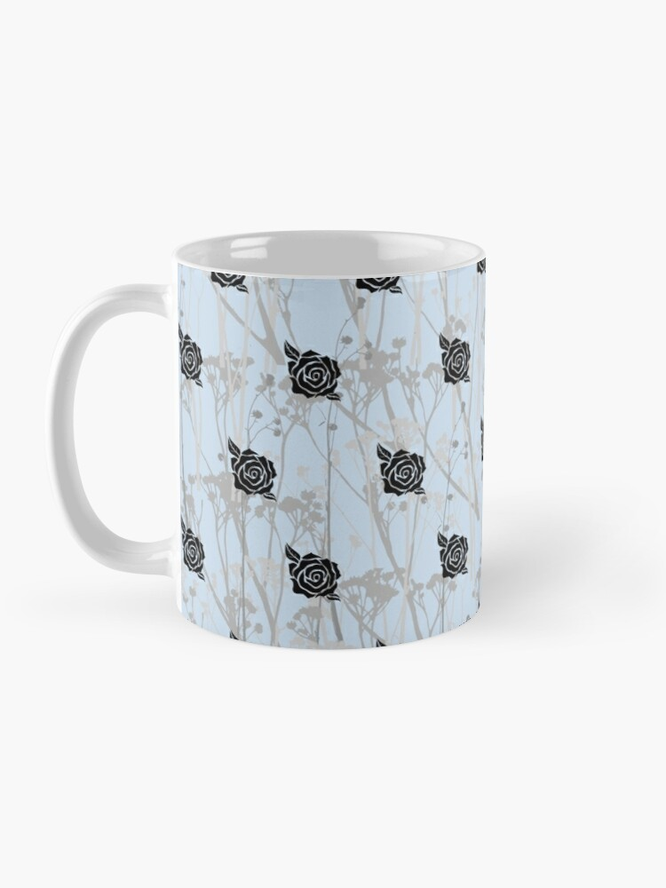 Alternate view of Grey Blue Black Rose Silhouettes and Modern Plant Life Pattern Mug