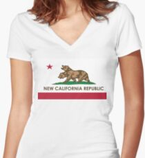 [HQ] NEW CALIFORNIA REPUBLIC Women's Fitted V-Neck T-Shirt