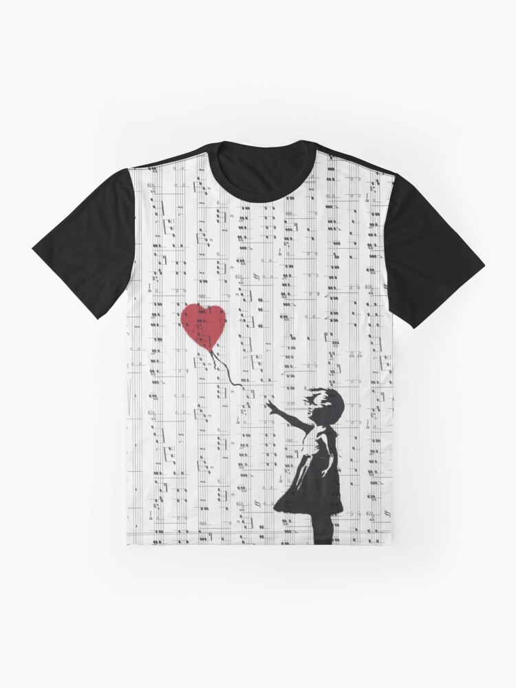 Alternate view of Girl With a Red Balloon by Banksy, Contemporary Street Art  Graphic T-Shirt