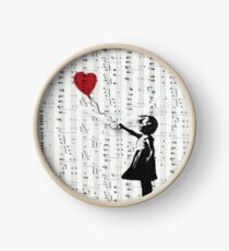 Girl With a Red Balloon by Banksy, Contemporary Street Art  Clock