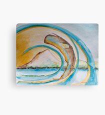 Pottwal vor Insel Pico - Farbe orange/hellblau Metal Print
