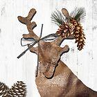 Rustic Holiday Burlap Deer by mindydidit