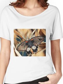 Black, White and Orange Butterfly Women's Relaxed Fit T-Shirt