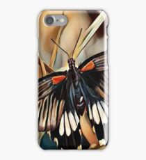 Black, White and Orange Butterfly iPhone Case/Skin