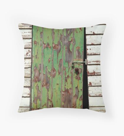 Out House, Dunny Door Throw Pillow