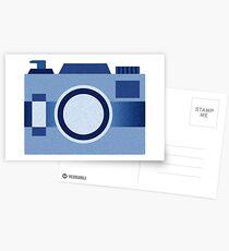 Retro Old-Time Camera, Blue Postcards
