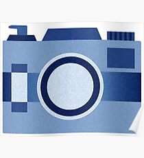 Retro Old-Time Camera, Blue Poster
