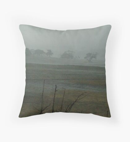 Rain Storm, Mt Anakie Brisbane Ranges Throw Pillow