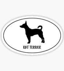 Rat Terrier Dog Classic Breed Silhouette Oval Sticker Sticker
