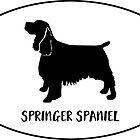 Springer Spaniel Dog Classic Breed Silhouette Oval Sticker by TriPodDogDesign