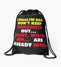 No BAN No WALL Drawstring Bag