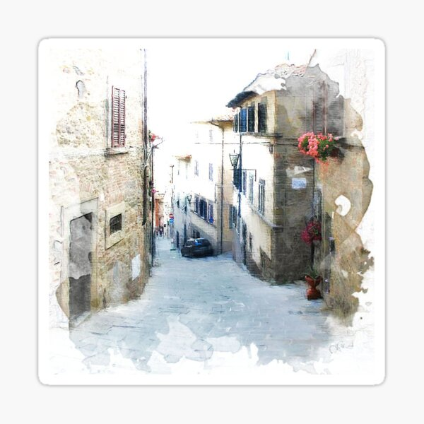 Tuscany, Italy. Cortona.Illustration Sticker